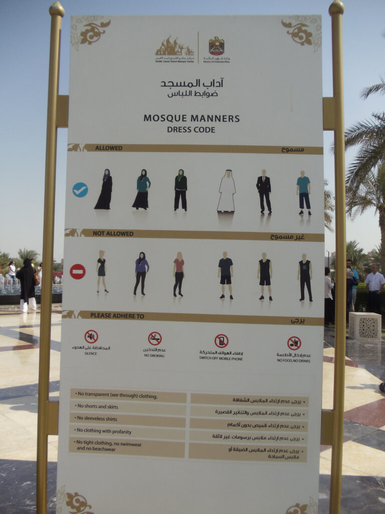 Dress code in the Grand Mosque in Abu Dhabi
