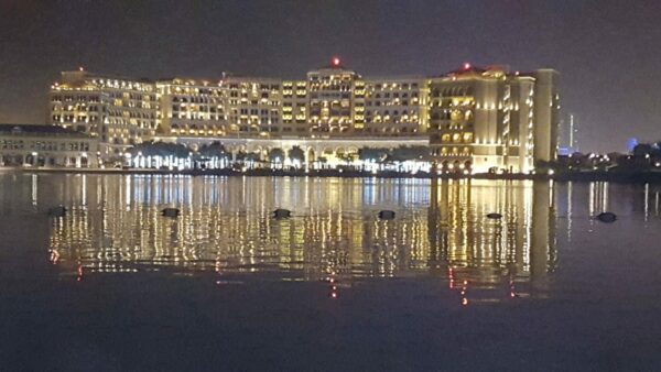 Illuminated Hotel to watch by boat tour